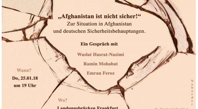 """Audio-Mitschnitt der Veranstaltung """"Afghanistan ist nicht sicher! – Zur Situation in Afghanistan und deutschen Sicherheitsbehauptungen"""""""